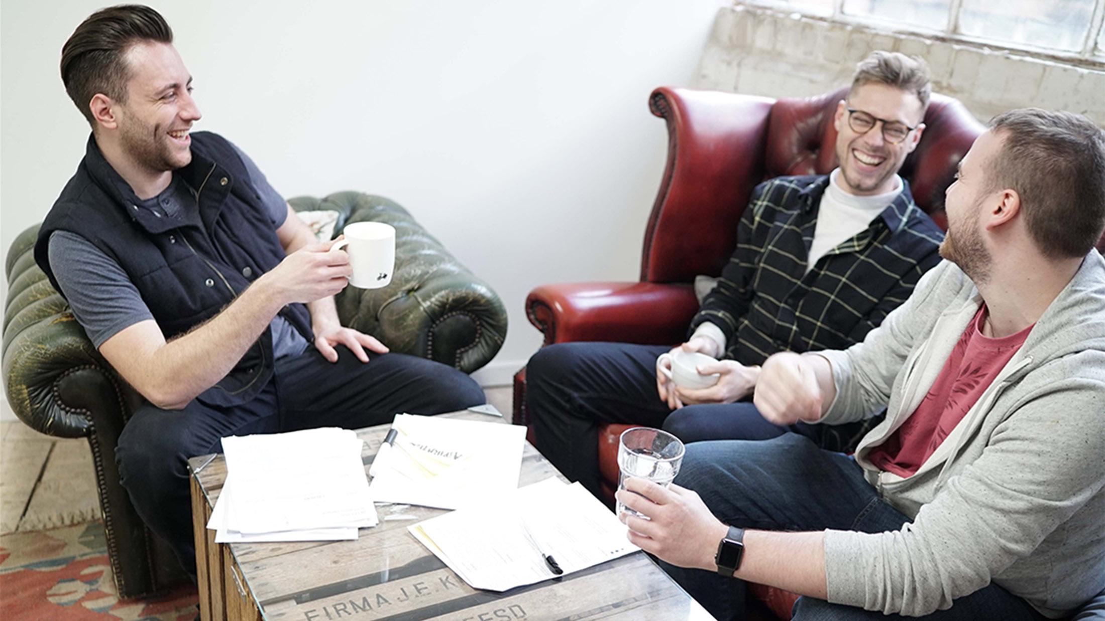 Luke Newbold Leads Client Meeting at Camden Town Studio